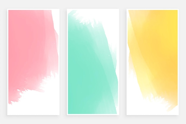 Abstract pastel watercolor banner templates