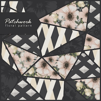 Abstract patchwork background with flowers