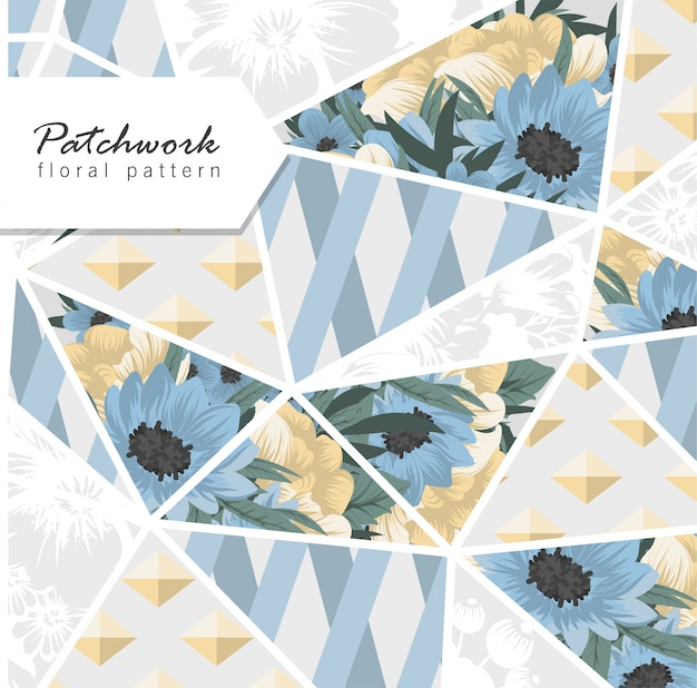 Abstract patchwork with blue flowers