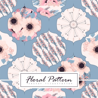 Abstract patchwork with flowers pattern