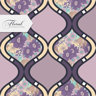Abstract patchwork with flowers seamless pattern wallpaper