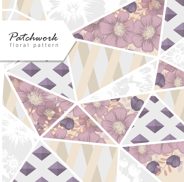 Abstract patchwork with flowers