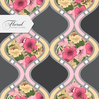 Abstract patchwork with pink and yellow flowers