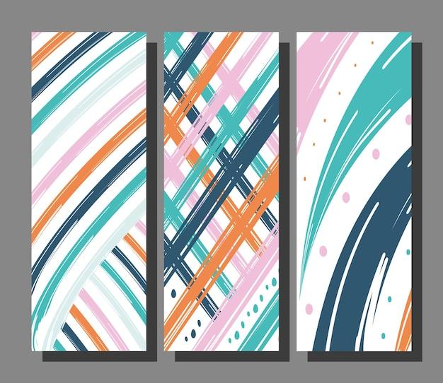 抽象的なパターンの背景バンドルデザイン、アート、壁紙のテーマ Premiumベクター