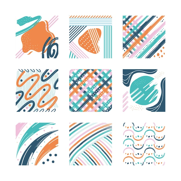 Abstract pattern backgrounds set design, art and wallpaper theme