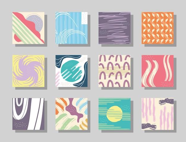 抽象的なパターンの背景シンボルコレクションデザイン、アートと壁紙のテーマ Premiumベクター