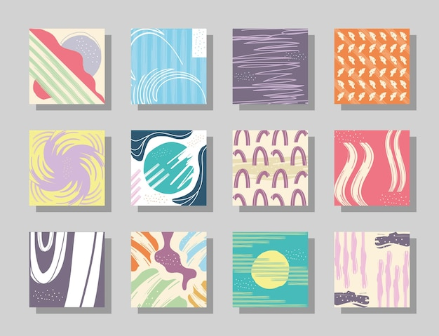Abstract pattern backgrounds symbol collection design, art and wallpaper theme