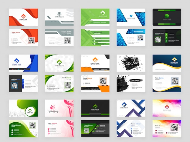 Abstract pattern business card collection