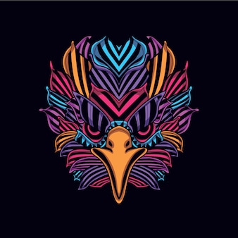Abstract pattern eagle head from neon color