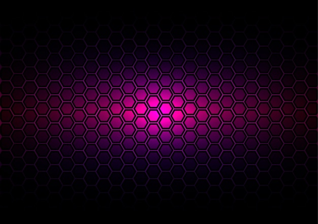 Abstract pattern hexagon  on dark purple color background