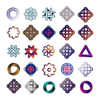 抽象的なパターン、ロゴ。ベクトルは、バックラウンドを分離しました。