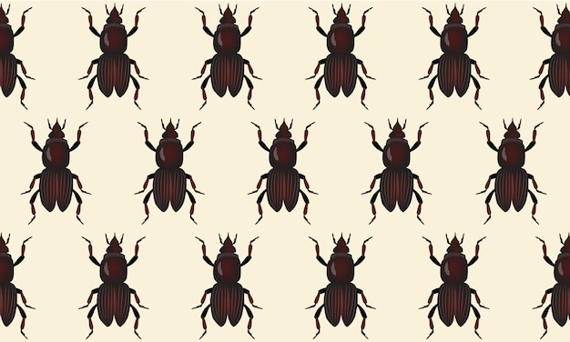 Abstract pattern of may beetles on beige background