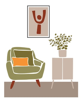Abstract pattern near the green armchairmodern boho interior with abstract elements in  cut out