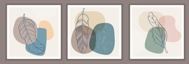 有機的なシンプルな形と自然の植物要素の抽象的なパターン
