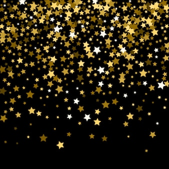 Abstract pattern of random falling gold stars on black.