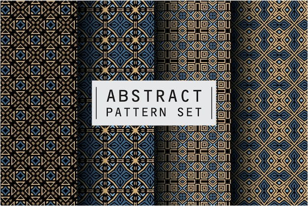 Abstract pattern set with batik motif background
