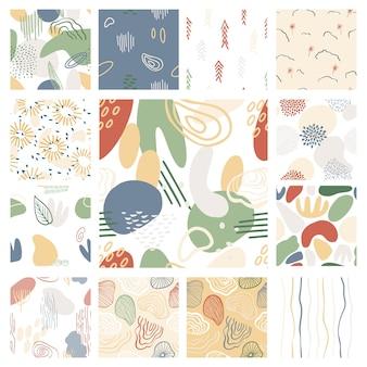 파스텔 색상 파랑, 녹색의 유기적인 모양으로 설정된 추상 패턴입니다. 반점, 줄무늬가 있는 유기적 배경. 자연 텍스처와 콜라주 완벽 한 패턴입니다. 현대 직물, 포장지, 벽 예술.