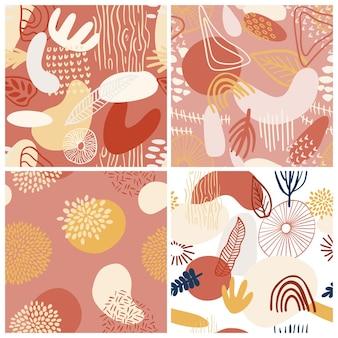 파스텔 색상 빨강, 노랑, 분홍색의 유기적 모양으로 설정된 추상 패턴입니다. 관광 명소와 유기 배경입니다. 자연 텍스처와 콜라주 완벽 한 패턴입니다. 현대 직물, 포장지, 벽 예술 디자인