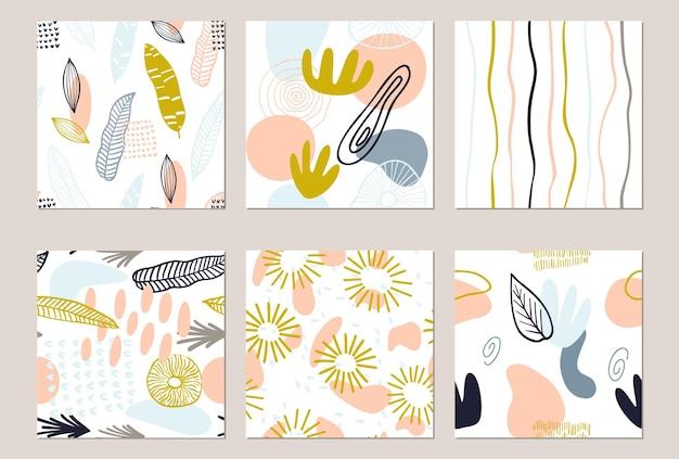 파스텔 색상 노란색, 분홍색의 유기적인 모양으로 설정된 추상 패턴입니다. 반점, 줄무늬가 있는 유기적 배경. 자연 텍스처와 콜라주 완벽 한 패턴입니다. 현대 직물, 포장지, 벽 예술.
