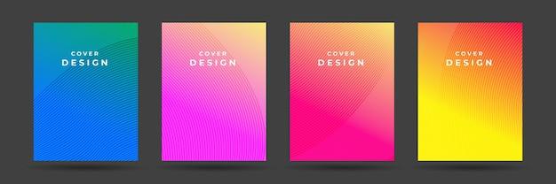 抽象的なパターンテクスチャ本パンフレットポスターカバーグラデーションテンプレートベクトルを設定します。モダンな抽象カバーセット、最小限のカバーデザイン。カラフルな幾何学的な背景、ベクトルイラスト