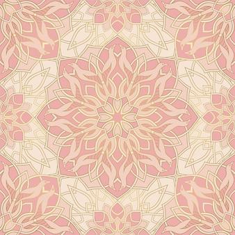 새와 추상 패턴입니다. 만다라와 벡터 분홍색 배경입니다.