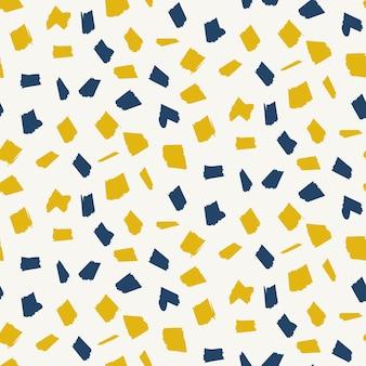 青と黄色の斑点要素を持つ抽象的なパターン。抽象的なファッション流行のベクトルテクスチャ
