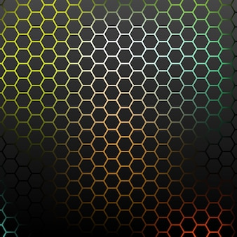 Abstract pattern with colorful hexagons.