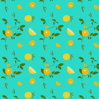 Abstract pattern with orange and leaves on blue background. vector illustration.