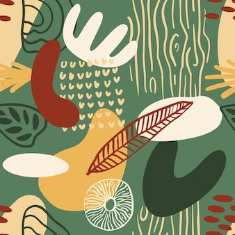녹색, 빨간색, 노란색 색상의 유기적인 모양이 있는 추상 패턴입니다. 관광 명소와 유기 배경입니다. 자연 텍스처와 콜라주 완벽 한 패턴입니다. 현대 직물, 포장지, 벽 예술 디자인