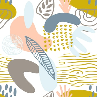 파스텔 색상의 겨자색 노란색, 분홍색의 유기적인 모양이 있는 추상 패턴입니다. 유기 벡터 배경입니다. 자연, 나무 질감과 80년대 완벽 한 패턴입니다. 현대 직물, 포장지, 벽 예술 디자인