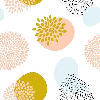 파스텔 색상 겨자색 노란색, 분홍색의 유기적인 모양이 있는 추상 패턴입니다. 꽃, blob와 유기 배경입니다. 자연 질감으로 완벽 한 패턴입니다. 현대 섬유, 포장지, 벽 예술 디자인