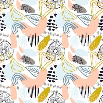 파스텔 색상 겨자색 노란색, 분홍색의 유기적인 모양이 있는 추상 패턴입니다. 관광 명소와 유기 배경입니다. 자연 텍스처와 콜라주 완벽 한 패턴입니다. 현대 섬유, 포장지, 벽 예술 디자인