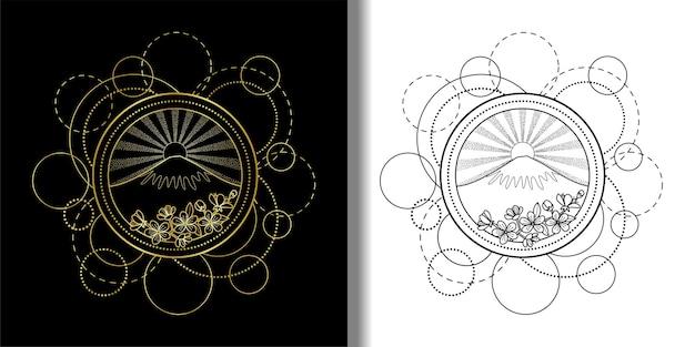 山の太陽と桜の花で設定された抽象的なパターンタトゥーファッションテキスタイルtシャツプリント
