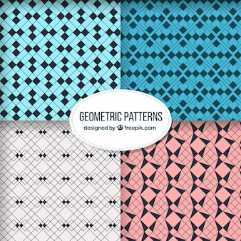 Abstract patterns with geometric shapes Free Vector