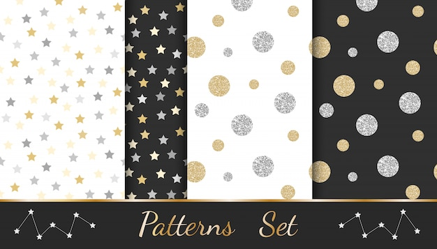 Abstract patterns with glitter elements: circles, stars, lines