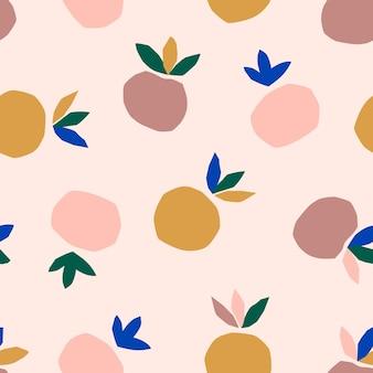 트렌디한 미니멀리스트 스타일의 잎이 있는 추상 복숭아 원활한 패턴입니다. 직물, 표지 디자인, 엽서에 인쇄하기 위해 잘라낸 종이 조각으로 만든 과일의 벡터 콜라주 배경