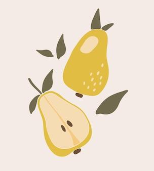 抽象的な梨フルーツ自由奔放に生きるイラスト