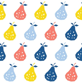 Abstract pear seamless pattern background. childish handmade pear for design card, cafe menu, wallpaper, summer gift album, scrapbook, holiday wrapping paper, textile fabric, bag print, t shirt etc.
