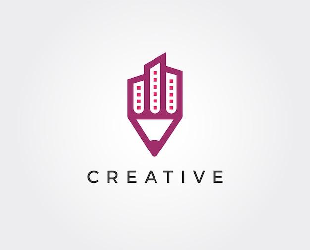 抽象的な鉛筆の矢印のロゴのテンプレート