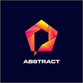 Abstract pentagon awesome gradient logo