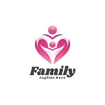 Abstract people child family and love heart logo