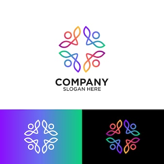 コミュニティのロゴデザインのための抽象的な人々