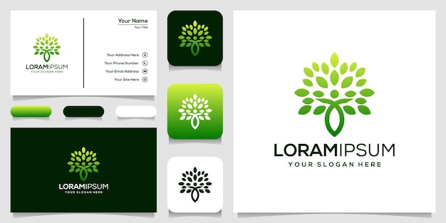 Abstract people leaf logo template business card