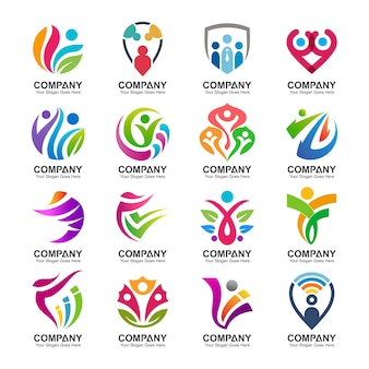Abstract people logo collection