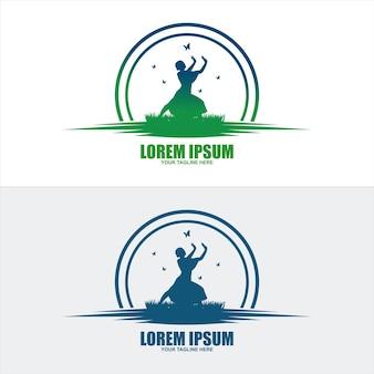 Абстрактный дизайн логотипа людей. тренажерный зал, фитнес, работает тренер вектор красочный логотип. активный фитнес, спорт, танец веб-значок и символ