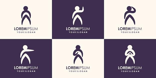抽象的な人々のロゴデザインジムフィットネスランニングトレーナーベクトルロゴアクティブフィットネススポーツ