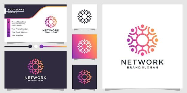 ネットワークコミュニティの概念プレミアムベクトルと抽象的な人々のロゴ