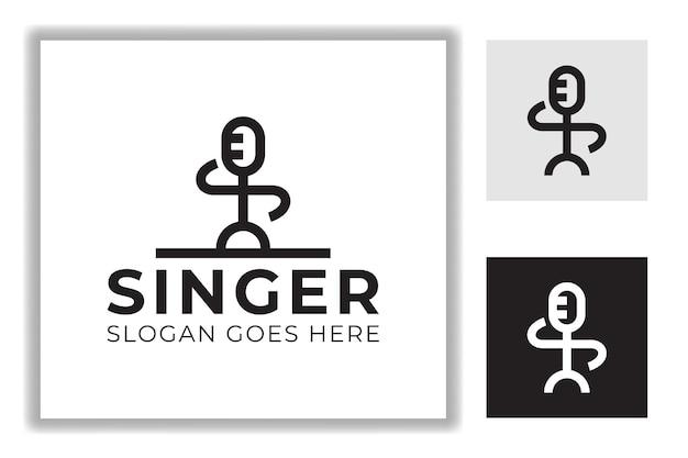抽象人歌手、ポッドキャスト、人前で話す線画スタイルのロゴテンプレート