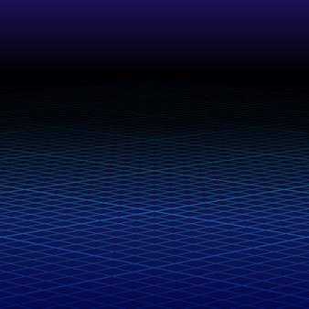 Абстрактная перспектива синяя сетка. каркасный пейзаж.