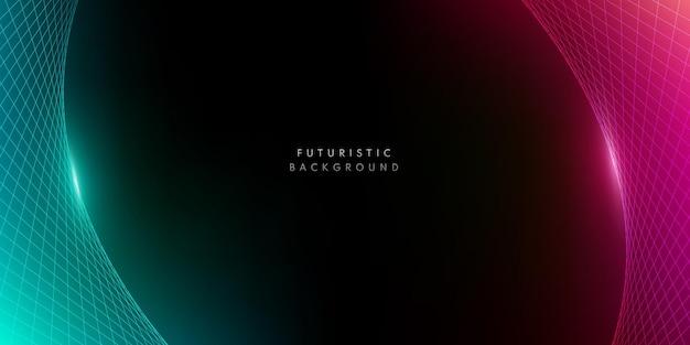 暗い背景に抽象的な遠近法赤ピンク&緑のワイヤーフレーム。